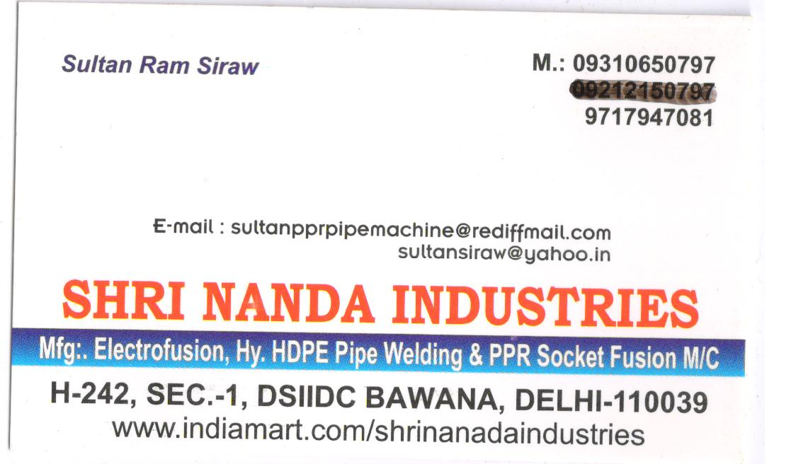 Shri Nanda Industries - Pipe Jointing Machines